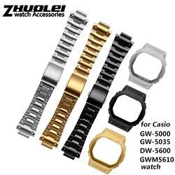 Yüksek kalite 316L paslanmaz çelik kordonlu saat ve kılıf için Casio DW5600 GW-5000 5035 GW-M5610 metal kayış çelik kemer araçları