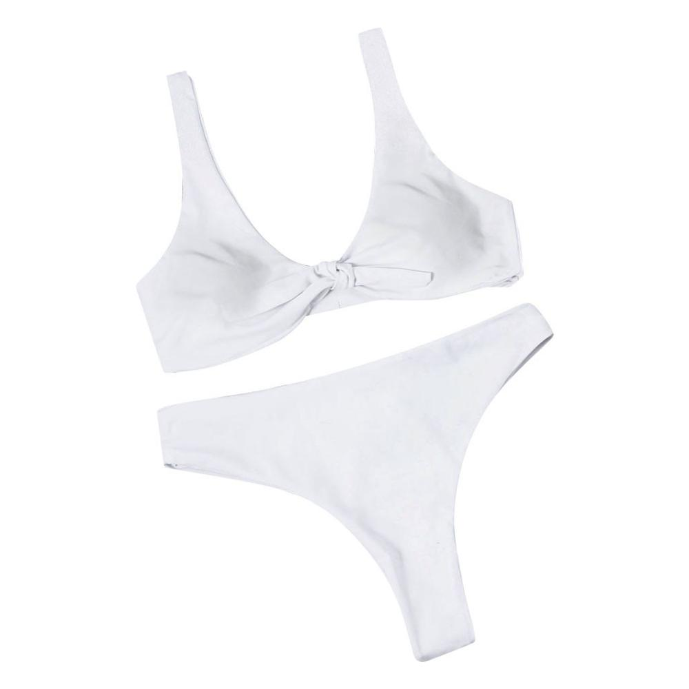 Женская одежда для плавания, розовый однотонный купальный костюм для женщин, сексуальный элегантный танкини, купальные костюмы для женщин с бантом из двух частей, женский купальник s - Цвет: Белый