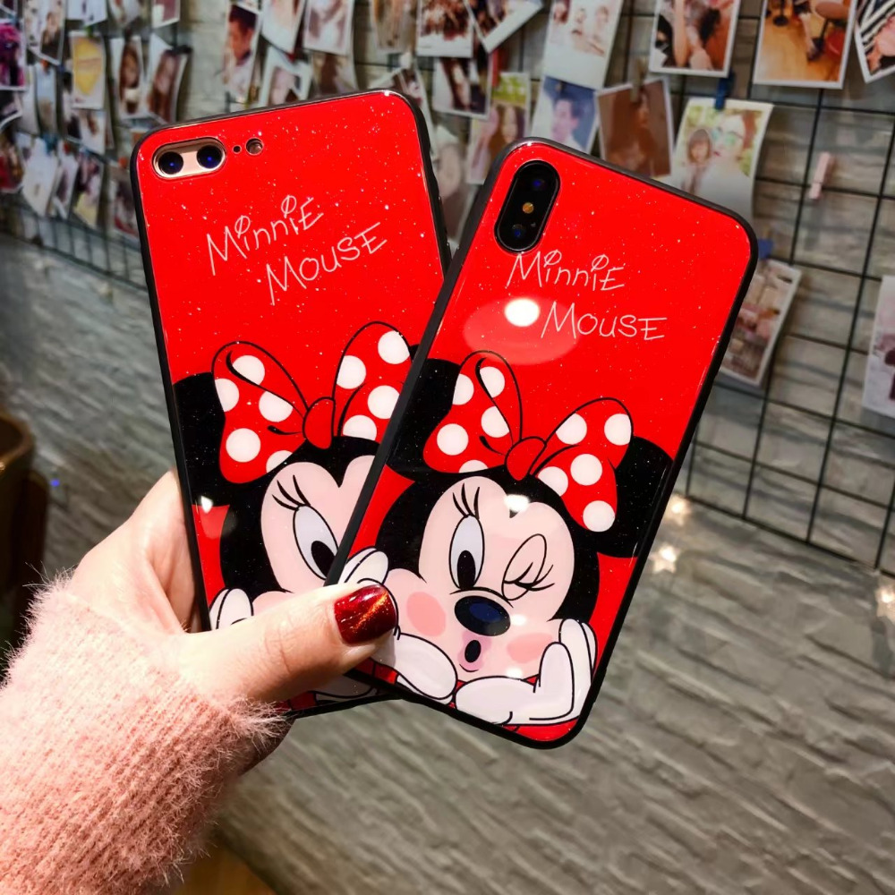 (1pc) For iPhone X 8 8 plus 7 7 plus 6s plus 6s Case+Tempered Glass Screen film cute minnie mouse new year back Cover
