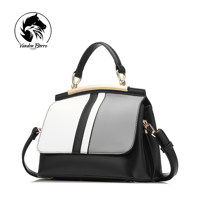 ФОТО brand new women handbag black and white stripe tote bag female shoulder bags high quality PU leather purse handbags