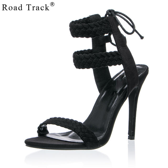 fb4d4b775705 Road Track Summer Sexy Weave Ankle Strap Peep Toe Women Sandals High Heels  Flock Heel Height Women Shoes XWB0174-5