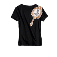 Fashion New T Shirts 2017 Summer Short Sleeve O Neck Cotton Breif Scorpion Mirror Sequined
