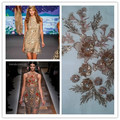 3D Flower Crystal Gold Sequin Embroidered African Lace Applique Ribbon Guipure Tulle Fabric Material Sew Cloth Wedding Dress