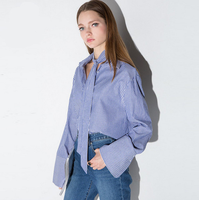 517aaa2297 Vagary lapel rayas verticales Blusas estilo casual mujer Camisas nueva  llegada damas azul blanco manga larga