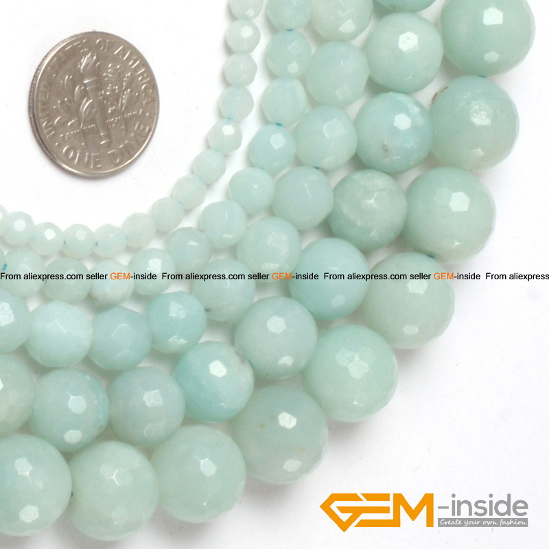 Round Faceted Blue Amazonite Beads Natural Stone Bead DIY Loose For Bracelet Making For Jewelry Making Strand 15