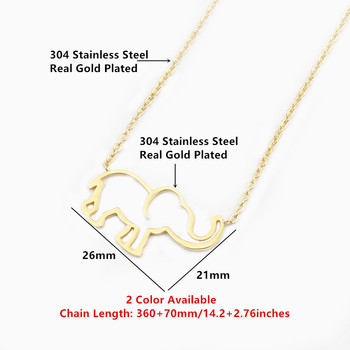 Collier Femme Stainless Steel Gold Chain Origami Elephant Pendant Necklaces For Women Jewelry Collares Largos De