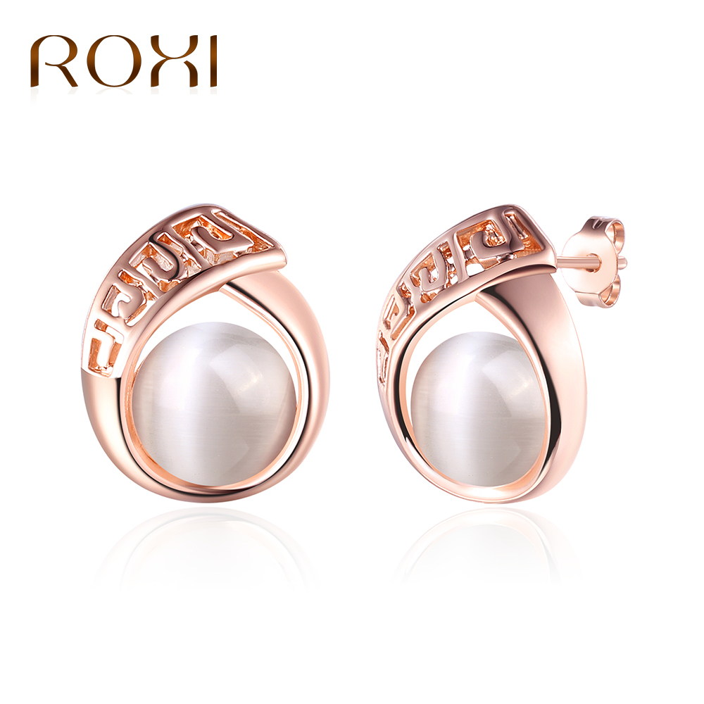 ROXI New Hot Rose Gold Color Stud Earrings Fashion Fine Jewelry Opal Earrings For Women Girl Wedding Gifts Boucles DOreille