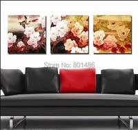 Peônia flor pintura da lona do estilo chinês 3 peças/set