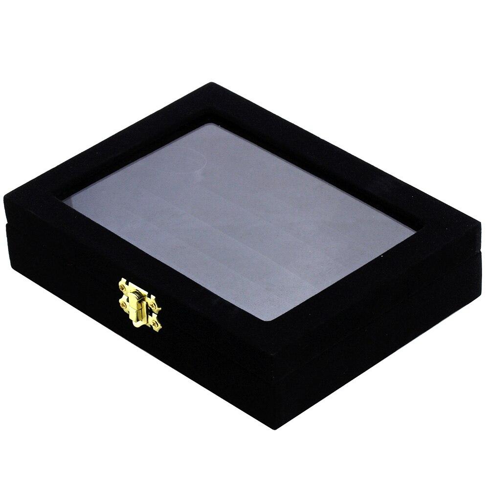 Mms luxo abotoaduras caixa de presente 24 pares capacidade abotoaduras caixa de vidro transparente autêntico 1.89x5.98x7.87 polegada frete grátis