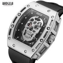 Baogela Мужская мода Военный силиконовый ремешок прямоугольник циферблат череп лицо Спорт кварцевые наручные часы BGL1612G-1