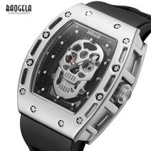 Baogela Mens Fashion Military Silicone Strap Rectangle Dial Skull Face Sport Quartz Wrist Watches BGL1612G-1