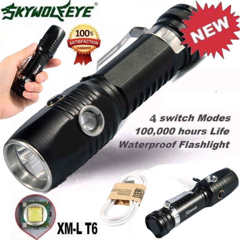 High Quality  skywolfeye XML T6 LED Flashlight 18650 Battery+USB Rechargeable+Side Red LED Lights