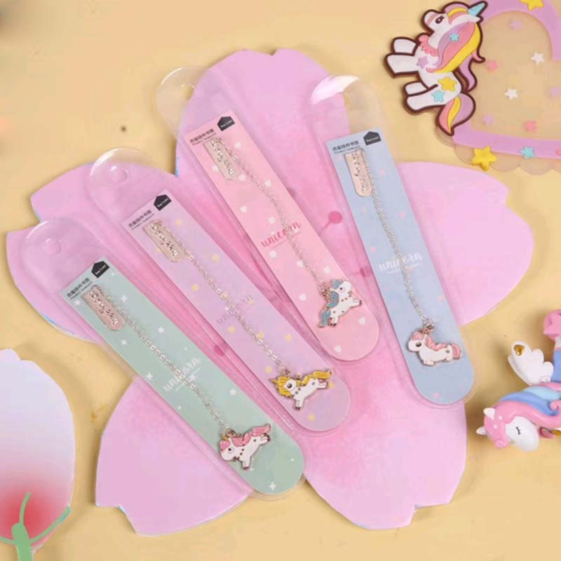 Image 2 - 24 pcs/lot Unicorn Bookmark for book markers Cartoon metal pendant paper clip School Office Supplies stationery gift escolar-in Bookmark from Office & School Supplies