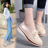 2019 Spring&Autumn Oxfords Shoes Women Flats Casual Tassel Women Oxfords Shoes Leather Slip On Ladies Loafers Bow Pointed Toe