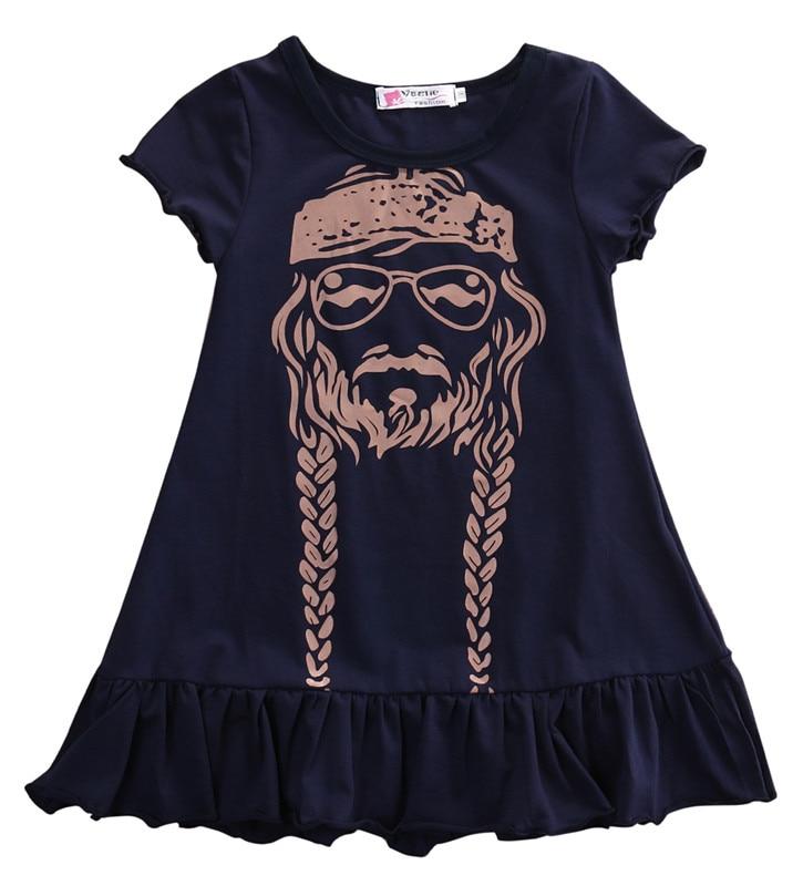 Baby Girl Dress Kids Princess Party Summer Short Sleeve Cotton Child Girls Print Dress Willie Nelson allrun 10 12 14 16