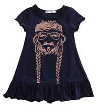 лучшая цена Baby Girl Dress Kids Princess Party Summer Short Sleeve Cotton Child Girls Print Dress Willie Nelson