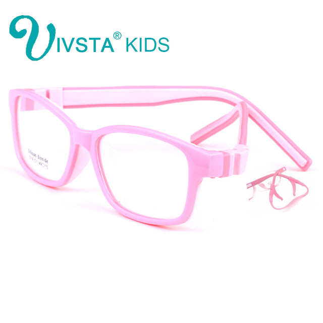 IVSTA 519 49-15 TR90 Kids Glasses Girls Frame Silicone Optical with retainer strap Sports student boys prescription amblyopia