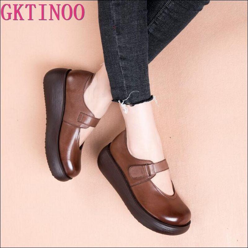 GKTINOO ทำด้วยมือผู้หญิงแพลตฟอร์มรองเท้าสำหรับสตรีรองเท้าหนังผู้หญิง Vintage Soft Comfort Wedges Breathable ปั๊ม-ใน รองเท้าส้นสูงสตรี จาก รองเท้า บน   1