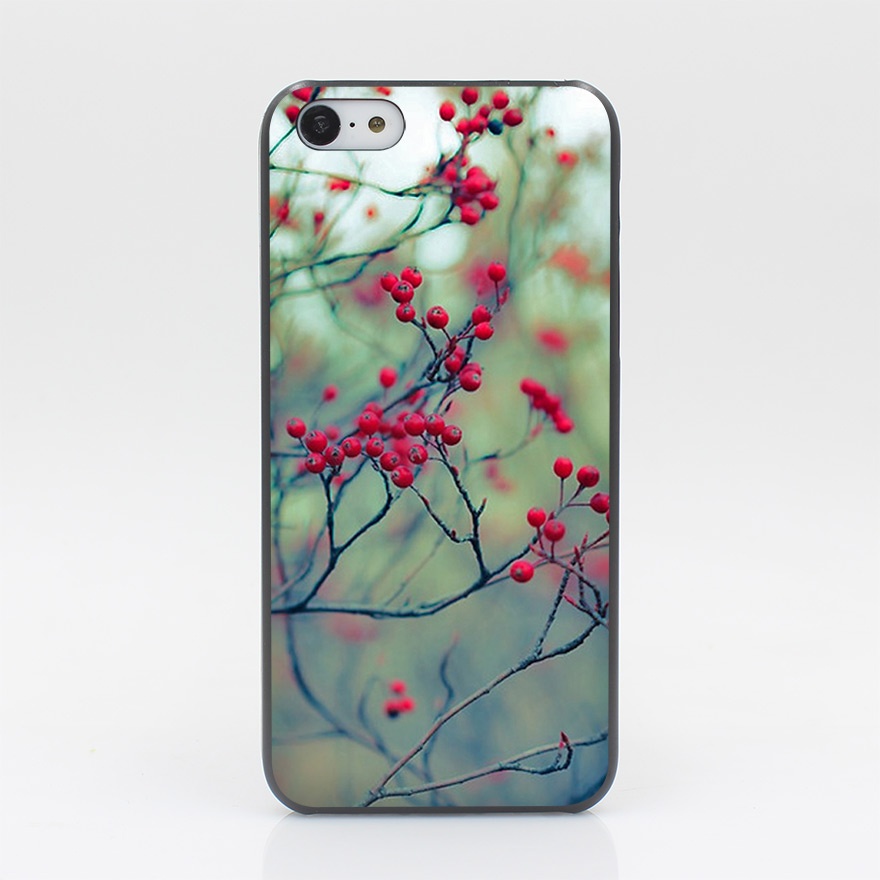 1315CD Winter Berries Hard Black Case Cover for iPhone 4 4s 5 5s 5c SE 6 6s Plus Print