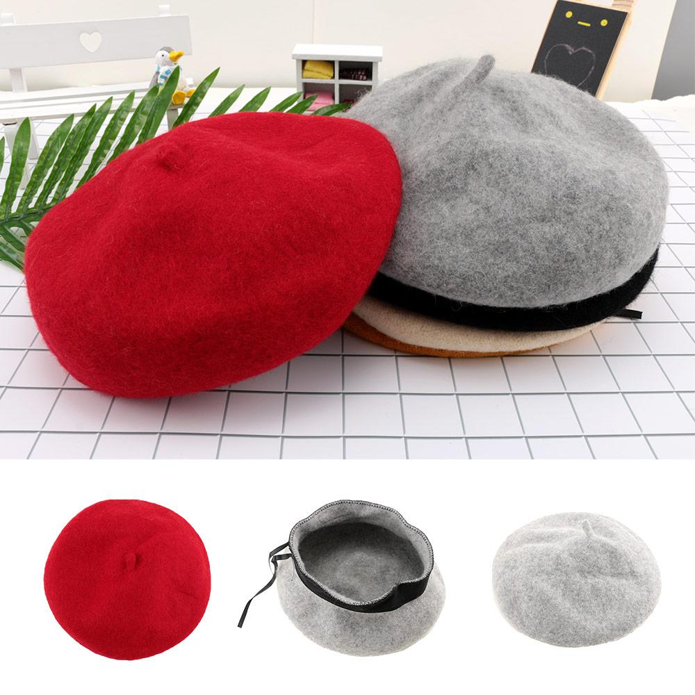 1 Pcs Kinder Wolle Warme Berets Baby Kinder Frühling Herbst Winter Hüte Mode Kappe Feste Kinder Maler Kappe Casual Kappe Elegant Im Stil