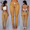 El colmo recomienda el más popular de estilo americano khaki mujeres jeans ajustados pantalones de moda pata lateral bolsillo niñas capris más el tamaño