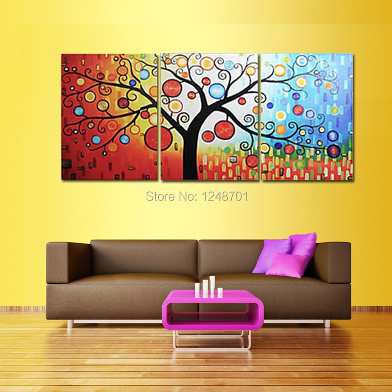 handpainted Large Modern 3 Piece abstract tree Oil Painting, Wall ...