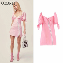 COZARII 2019 summer dress women vestidos casual style solid square collar bow puff sleeve mini de fiesta party