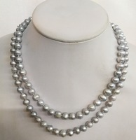 Women Jewelry 32'' 80cm necklace 8x9mm bright gray pearl handmade Real cultured freshwater pearl gift