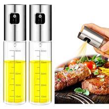 Pulverizador de aceite de oliva de vidrio de acero inoxidable, botella pulverizadora de aceite de cocina, botella de vinagre, dispensador de aceite para cocinar ensalada, herramienta para barbacoa, 2 uds.