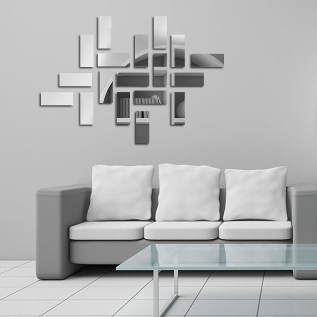 mirror effect furniture. 18pcs/lot Rectangle Acrylic Mirror Effect Sticker Wall Free Combination Surface Stickers Furniture R