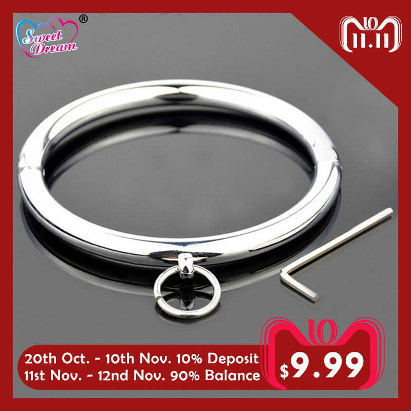 Sweet Dream 115mm Metal Stainless Steel Dog Neck Collar Slave BDSM Bondage Key Neck Cuff Adult Women Sex Toys for Couples LF-102 sweet round neck button down knit dress for women