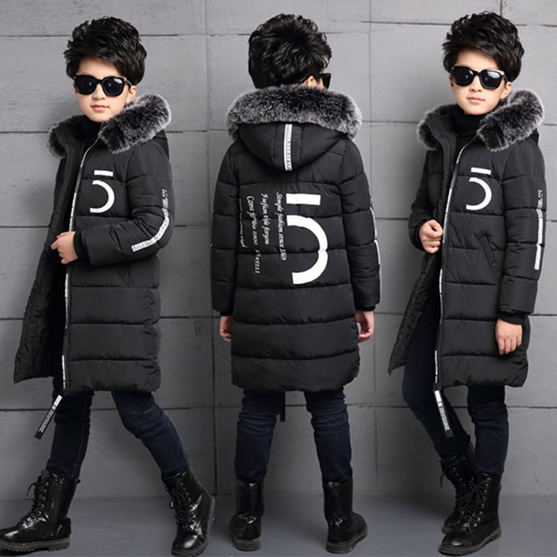 Cold winter boy kid clothes thick cotton-padded jacket coat outerwear boy children cloth long down jacket Windproof coats parkas