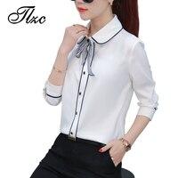 TLZC Fashion Elegant Lady White Blouses Bow Tie Size S 2XL New Arrival Sweet Office Women