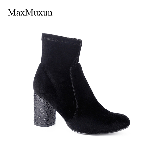 988607fa6b44 MaxMuxun Women s Winter Round Toe Rubber Ankle Boots Black Velvet Bling  Glitter High Thick Heel Booties Zipper Solid Party Shoes