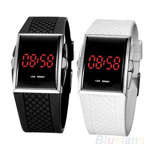 Vendas quentes Das Mulheres Dos Homens Unisex Ocasional Branco Preto Digital LED Sports Relógio de Pulso Relógio de Pulso Data 1JS4