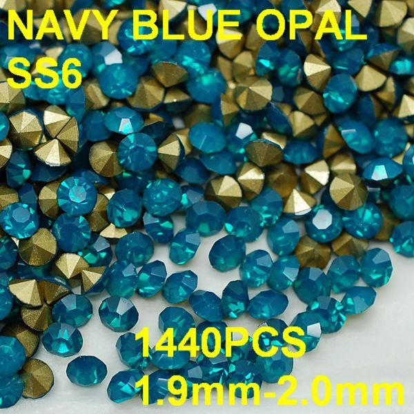 SS6 1440pcs/bag  Wholesale Round Navy Blue Opal Rhinestones Golden Point Back for Nail Art 1.9mm-2.0mm Diy Crystal Nail Decor