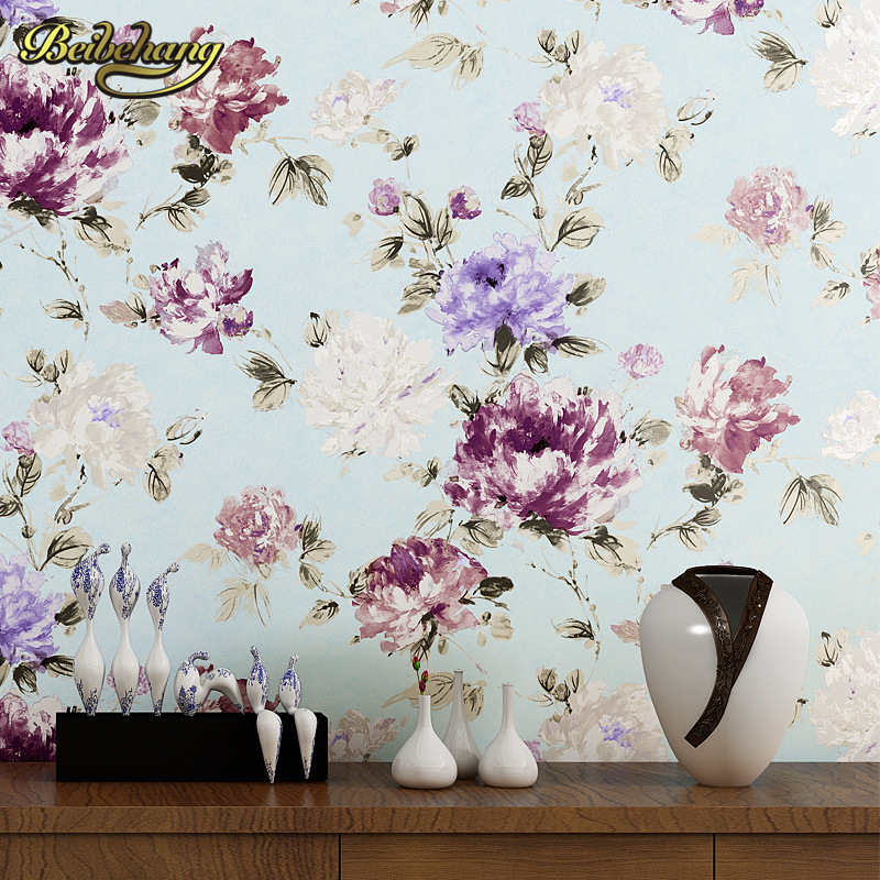beibehang Non-woven Wallpaper For living room Bedroom Home Decoration Peony Garden Country wall papers home decor papel contact beibehang wallpaper non woven home
