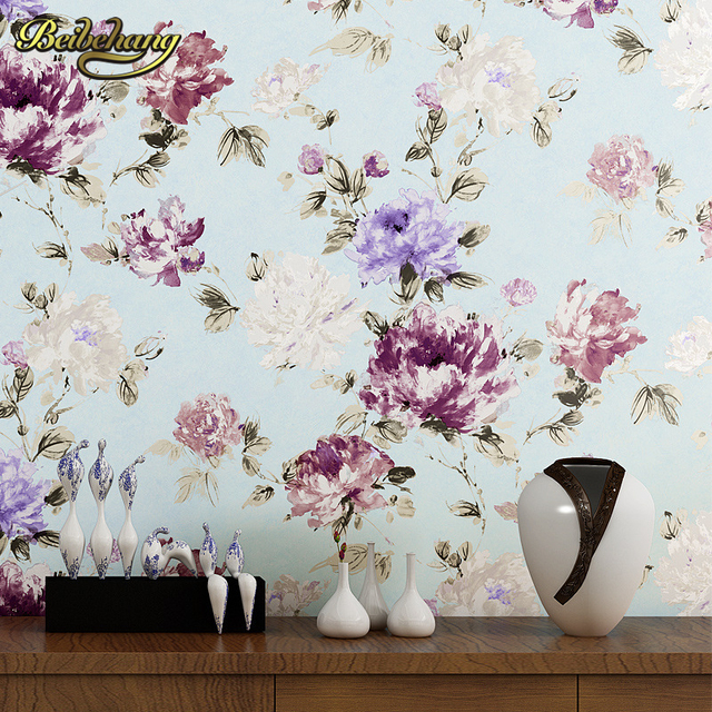Beibehang Non Woven Wallpaper For Living Room Bedroom Home Decoration Peony Garden Country Wall Papers