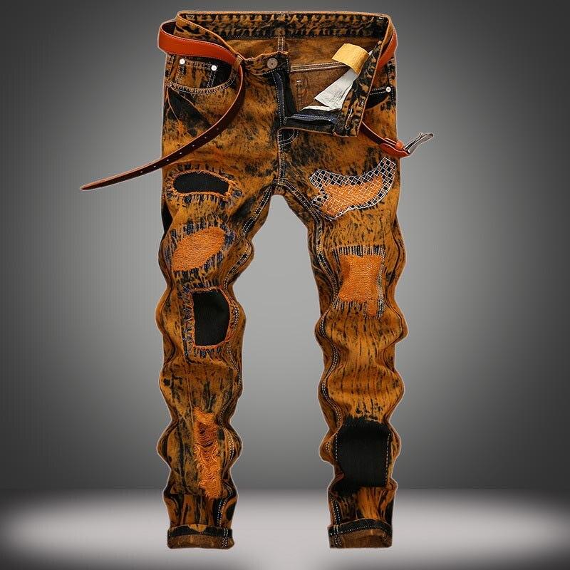 Marée chaude BIKER & Moto JEANS pantalons pour hommes et la grande taille européenne 28-42 peinture revêtement mâle droit Stretch Jeans pantalons Vintage