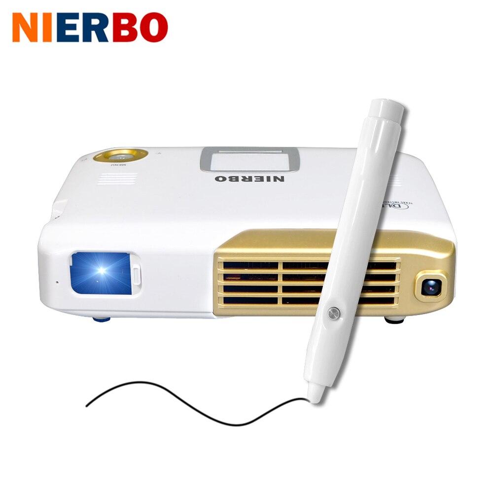 NIERBO 4 К интерактивные Портативный проектор Full 3D школы Android Wi-Fi офисный образования с 15000 мАч Батарея 500 ANSI люмен