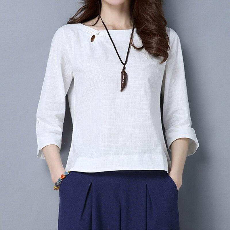 Loose מקרית לבן חולצה חולצות נשים חולצות כותנה פשתן חולצות נקבה שלוש רובע שרוול O-צוואר blusas fenininas camisas
