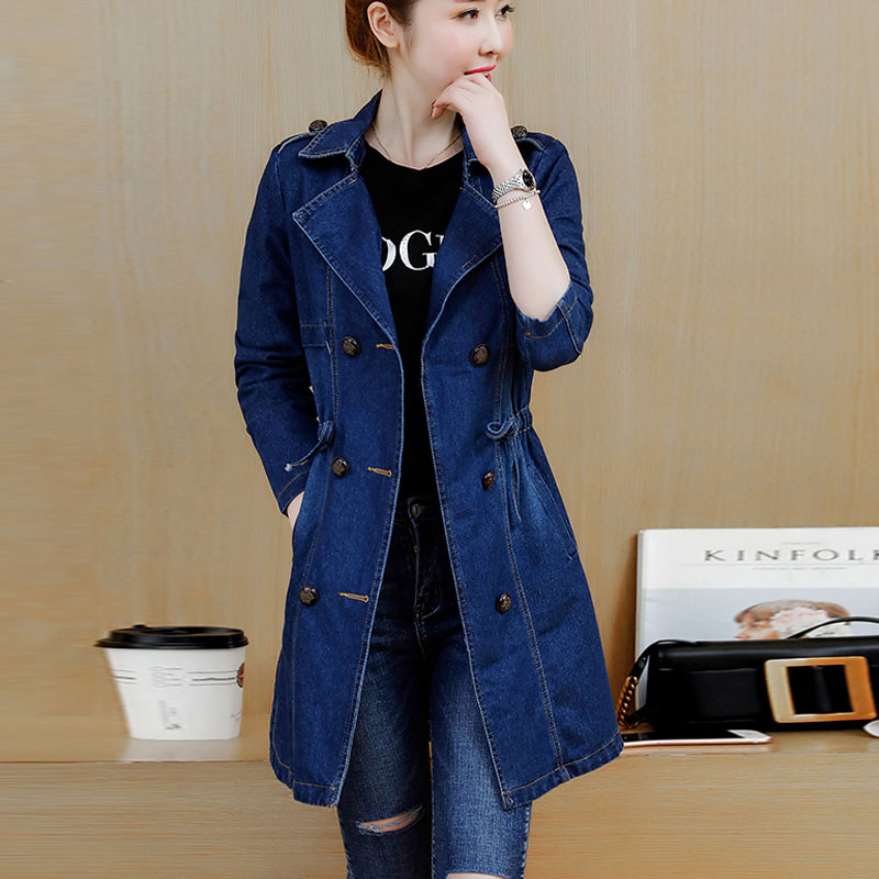 5xL plus big size coats women spring summer style autumn 2019 feminina new long denim coats Female fashion Windbreaker jacket