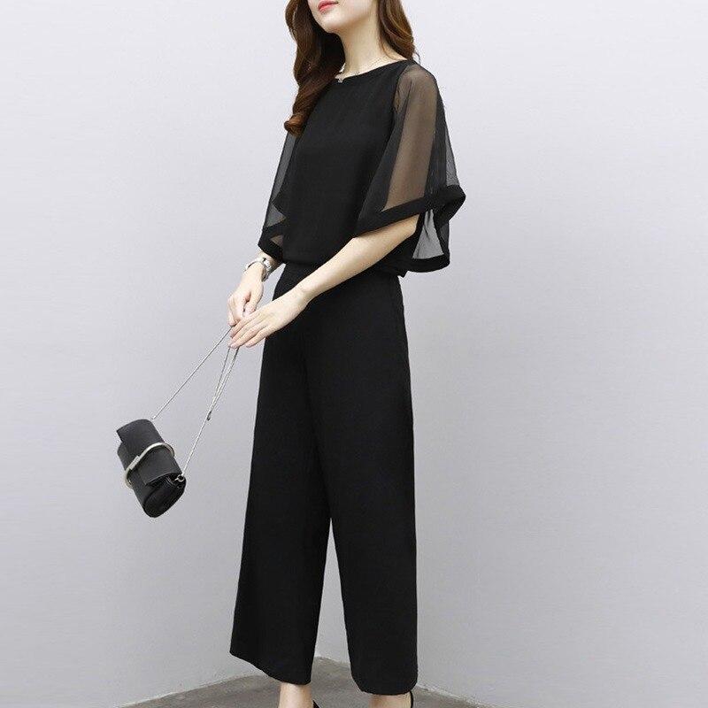 Mousseline de soie noir femmes mode o-cou haut rigide et cheville-longueur jambe large taille haute pantalon ensemble femme 2019 nouveauté