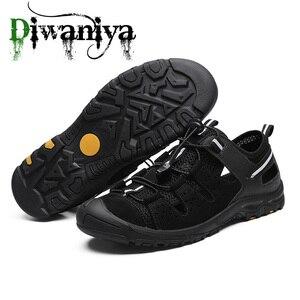 Image 4 - Летние мужские уличные сандалии, клетчатые Летние повседневные удобные нескользящие походные туфли, пляжные рыболовные сандалии, большой размер 38 46