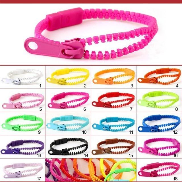 (Monochrome) Harajuku Zipper Bracelet Wristband Fluorescent color rainbow Levels Personality Gifts for Women Men jewelry Kids