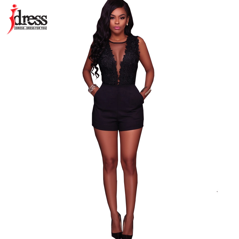 IDress Fashion 2018 New Lace Jumpsuit Women Summer Short Bodycon Playsuit Sexy Backless Mesh V Neck Overalls Party Lace Bodysuit (4)