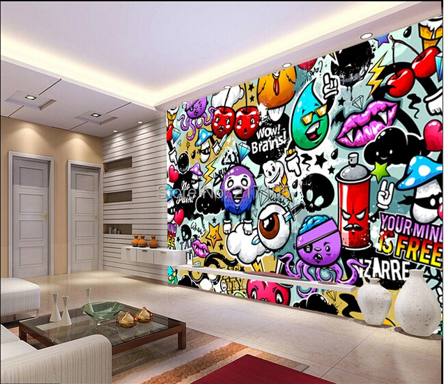 compre custom baby wallpaper colorful graffiti 3d wallpaper for kids room. Black Bedroom Furniture Sets. Home Design Ideas