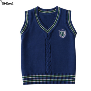 Image 2 - Children vests girl Winter New 2017 Big boys Knitting vest Teenage cotton Pullover V Neck waistcoats Middle school student vest