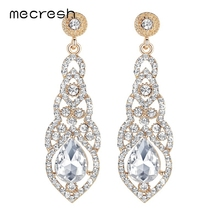 Mecresh Crystal Wedding Long Earrings for Women Silver Champagne Blue Color Fashion Bridal Earrings 2017 Wedding Jewelry EH444