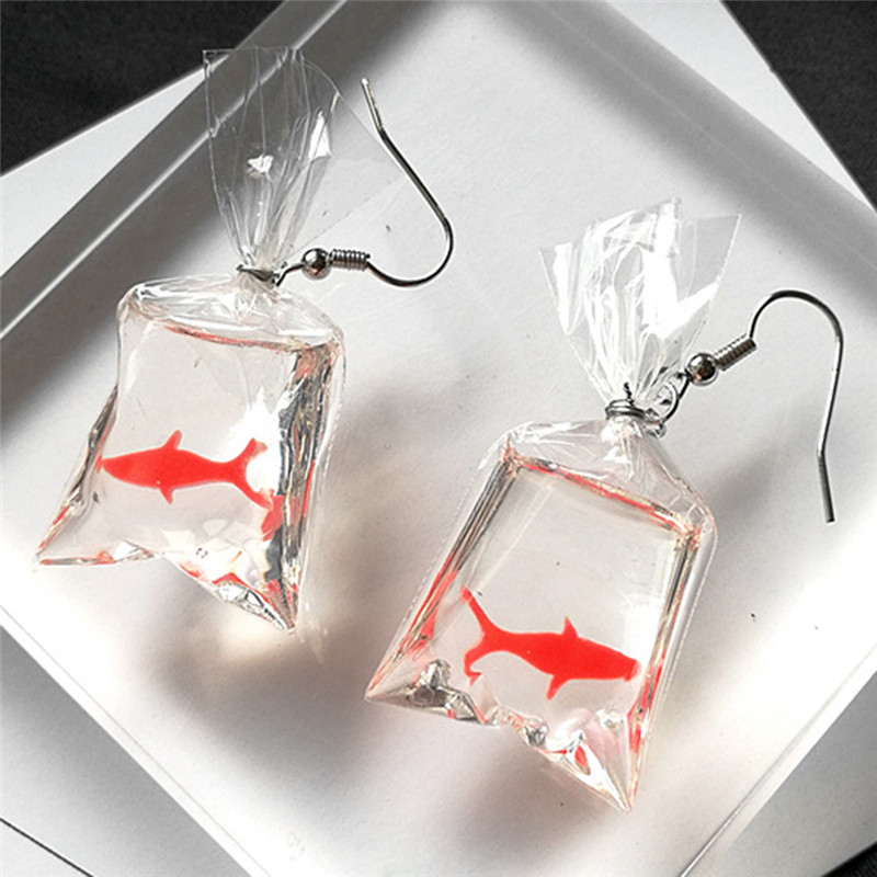 Fancy Cute Koi Fish Water Bag Dangle Earrings For Women  New Trendy Girls Brincos Anti Allergy Graceful Joker Eardrop